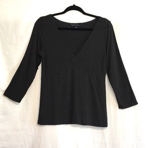 Banana Republic Fitted Charcoal v-neck stretch top